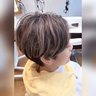 アンニュイほつれヘア 外国人風カラー ハイライト ショート ヘアスタイルや髪型の写真・画像