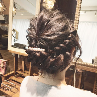 ゆるふわ 暗髪 セミロング 簡単ヘアアレンジ ヘアスタイルや髪型の写真・画像 ヘアスタイルや髪型の写真・画像