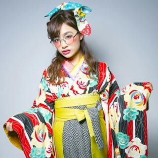 着物 セミロング 編み込み ルーズ ヘアスタイルや髪型の写真・画像