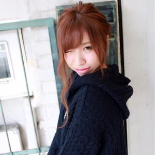 ヘアアレンジ ロング 前髪あり ベージュ ヘアスタイルや髪型の写真・画像