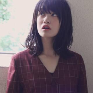 黒髪 大人かわいい 卵型 シースルーバング ヘアスタイルや髪型の写真・画像