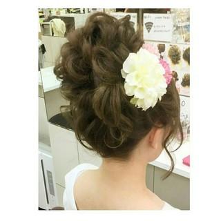 ガーリー ヘアアレンジ ロング ゆるふわ ヘアスタイルや髪型の写真・画像