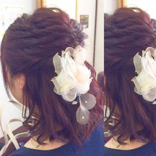 ショート ヘアアレンジ 結婚式 ハーフアップ ヘアスタイルや髪型の写真・画像