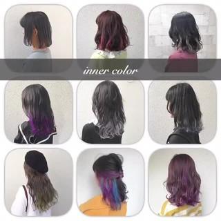 ミディアム グラデーションカラー ハイトーン ダブルカラー ヘアスタイルや髪型の写真・画像