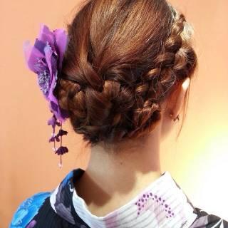 和装 モテ髪 夏 まとめ髪 ヘアスタイルや髪型の写真・画像