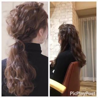 結婚式 フェミニン ロング ゆるふわ ヘアスタイルや髪型の写真・画像