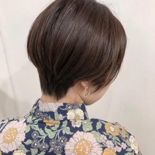 ナチュラル オリーブアッシュ 横顔美人 ハンサムショート ヘアスタイルや髪型の写真・画像