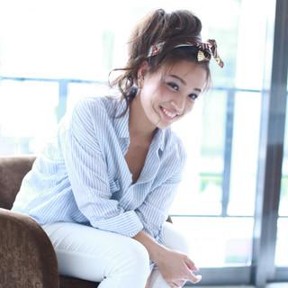 フェミニン 大人かわいい ポニーテール ヘアアレンジ ヘアスタイルや髪型の写真・画像