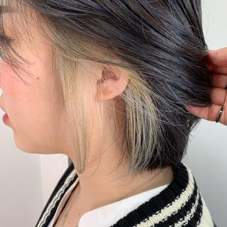 インナーカラー ネイビーブルー ブルージュ 大人可愛い ヘアスタイルや髪型の写真・画像