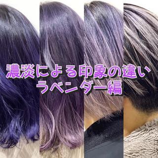 ホワイトベージュ ストリート ラベンダーアッシュ ミディアム ヘアスタイルや髪型の写真・画像
