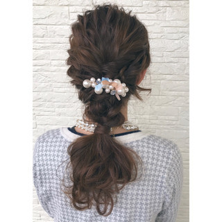 結婚式 ロング ポニーテール ヘアアレンジ ヘアスタイルや髪型の写真・画像 ヘアスタイルや髪型の写真・画像