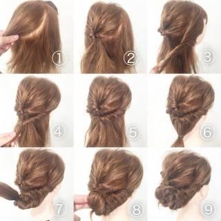 結婚式 セルフヘアアレンジ セミロング 簡単ヘアアレンジ ヘアスタイルや髪型の写真・画像