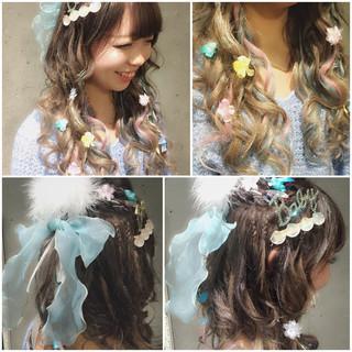 セミロング ショート ハーフアップ ヘアアレンジ ヘアスタイルや髪型の写真・画像