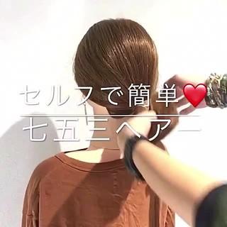 フェミニン ヘアアレンジ セミロング 簡単ヘアアレンジ ヘアスタイルや髪型の写真・画像 ヘアスタイルや髪型の写真・画像
