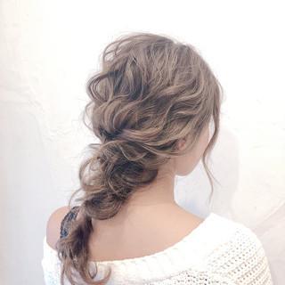 結婚式 編みおろし セミロング 編みおろしヘア ヘアスタイルや髪型の写真・画像