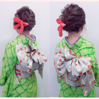 着物 ボブ ヘアアレンジ 編み込み ヘアスタイルや髪型の写真・画像 ヘアスタイルや髪型の写真・画像