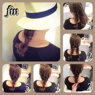 ヘアアレンジ 三つ編み 簡単ヘアアレンジ セミロング ヘアスタイルや髪型の写真・画像