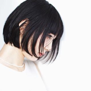 ショート 黒髪 モード ボブ ヘアスタイルや髪型の写真・画像