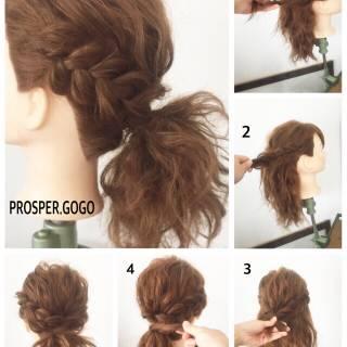 ヘアアレンジ ナチュラル 三つ編み 簡単ヘアアレンジ ヘアスタイルや髪型の写真・画像 ヘアスタイルや髪型の写真・画像