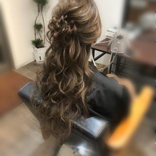 結婚式 ロング ヘアアレンジ ナチュラル ヘアスタイルや髪型の写真・画像