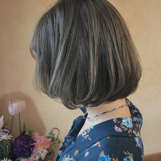 ゆるふわ ハイライト ボブ ナチュラル ヘアスタイルや髪型の写真・画像