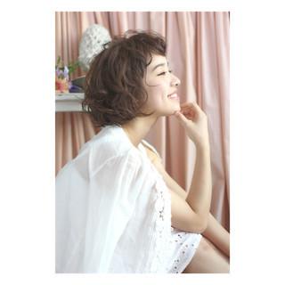パーマ ゆるふわ ショート ショートボブ ヘアスタイルや髪型の写真・画像 ヘアスタイルや髪型の写真・画像