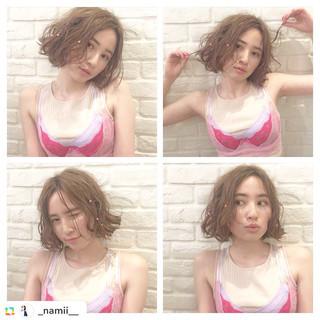 ヘアアレンジ ボブ 夏 フェミニン ヘアスタイルや髪型の写真・画像