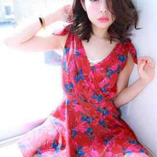 夏 パーマ 40代 ヘアアレンジ ヘアスタイルや髪型の写真・画像