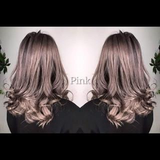 エレガント 外国人風カラー ラベンダーピンク 3Dハイライト ヘアスタイルや髪型の写真・画像