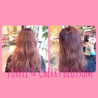 グラデーションカラー ピンク ストリート レッド ヘアスタイルや髪型の写真・画像
