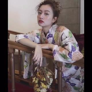 ミディアム 浴衣アレンジ ブライダル ナチュラル ヘアスタイルや髪型の写真・画像