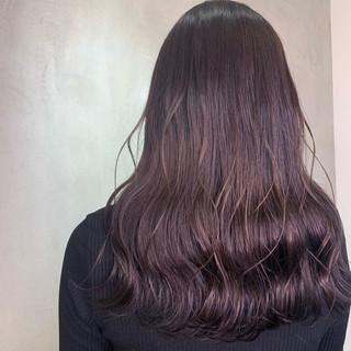 透明感カラー バイオレットカラー ロング ウェットヘア ヘアスタイルや髪型の写真・画像