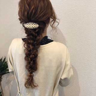 編みおろし 編みおろしヘア ヘアアレンジ ガーリー ヘアスタイルや髪型の写真・画像