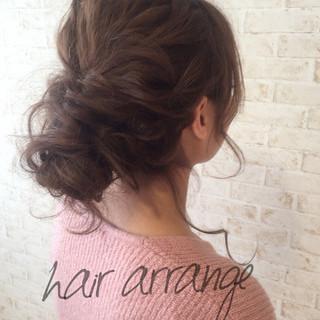 外国人風 グレージュ セミロング 簡単ヘアアレンジ ヘアスタイルや髪型の写真・画像