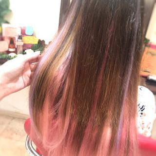 ハイライト パープル エクステ ロング ヘアスタイルや髪型の写真・画像