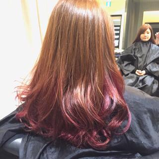 モード グラデーションカラー ピンク ロング ヘアスタイルや髪型の写真・画像