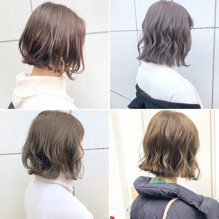 ボブ 切りっぱなし デート 簡単ヘアアレンジ ヘアスタイルや髪型の写真・画像