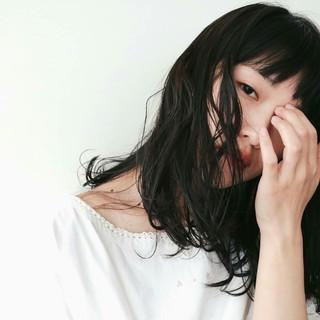 黒髪 大人かわいい リラックス デート ヘアスタイルや髪型の写真・画像
