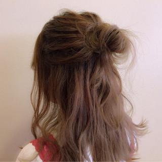 ゆるふわ ショート ハーフアップ ヘアアレンジ ヘアスタイルや髪型の写真・画像