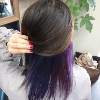 インナーカラーパープル インナーカラー ガーリー ラベンダー ヘアスタイルや髪型の写真・画像