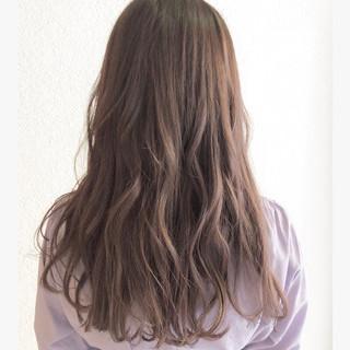 ラベンダーアッシュ ガーリー ロング デート ヘアスタイルや髪型の写真・画像