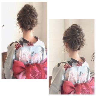 和装 ヘアアレンジ ロング お祭り ヘアスタイルや髪型の写真・画像