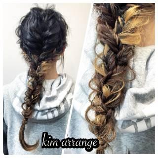編み込み 簡単ヘアアレンジ ショート ヘアアレンジ ヘアスタイルや髪型の写真・画像