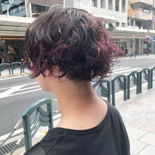 バイオレットアッシュ ブルーバイオレット ボブ アッシュバイオレット ヘアスタイルや髪型の写真・画像