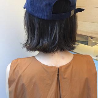 ボブ 外ハネ 切りっぱなし 外国人風 ヘアスタイルや髪型の写真・画像