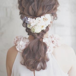 ゆるふわ 大人かわいい ロング 結婚式 ヘアスタイルや髪型の写真・画像