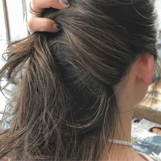 ハイライト リラックス セミロング 簡単ヘアアレンジ ヘアスタイルや髪型の写真・画像
