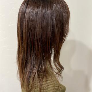 デジタルパーマ 髪質改善カラー オリーブカラー フェミニン ヘアスタイルや髪型の写真・画像