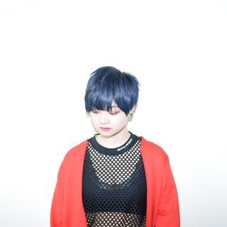 ショート ブルー モード ベリーショート ヘアスタイルや髪型の写真・画像