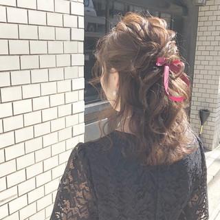 結婚式 ヘアアレンジ ハーフアップ アンニュイほつれヘア ヘアスタイルや髪型の写真・画像 ヘアスタイルや髪型の写真・画像